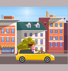 modern car parking along town street in cartoon vector image