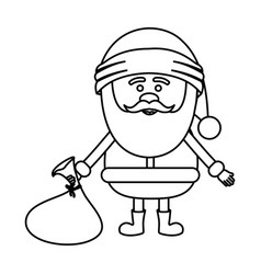 Monochrome contour of santa claus with gift bag on vector