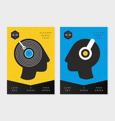 music poster templates with people heads party vector image