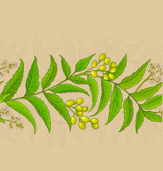 Neem branches pattern on color background vector