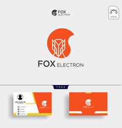 Negative space fox logo for with business card vector