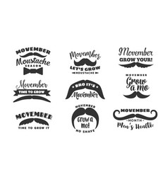 No shave movember month icons vector