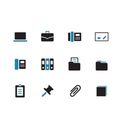 Office duotone icons on white background vector image