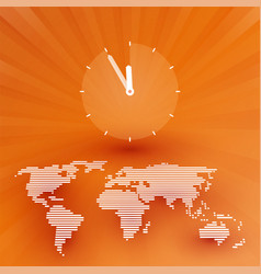 orange world map with a countdown clock vector image