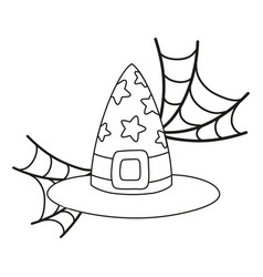 Outline witch hat with stars style and spiderweb vector