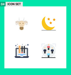 Pack 4 creative flat icons adornment device vector