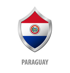 Paraguay flag on metal shiny shield vector