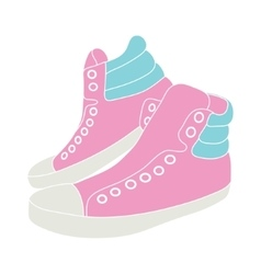 pink sneakers on white background vector image