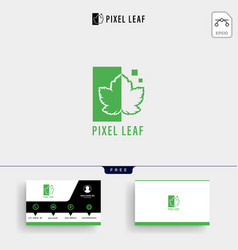 pixel leaf logo template and business card vector image
