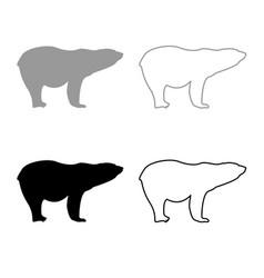 Polar bear icon outline set grey black color vector