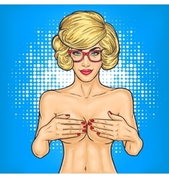 Pop art nude woman covers breasts with her hands vector image