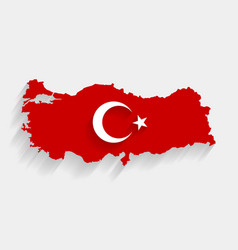 Red turkey flag and map on gray background vector