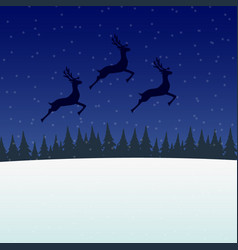 reindeer jumps against the background of the moon vector image