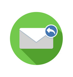 Reply mail icon email icon with long shadow vector