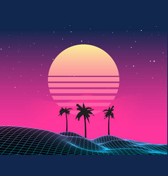 retro vaporwave background future landscape 80s vector image
