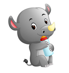 Rhino holding baby bottle with nipple vector