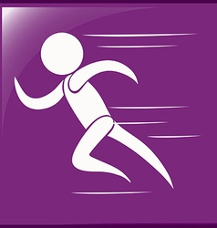 Running icon on purple background vector