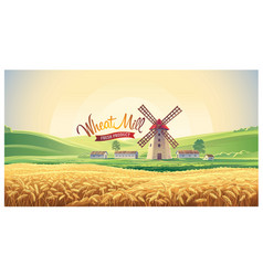rural summer landscape with windmill and wheat vector image