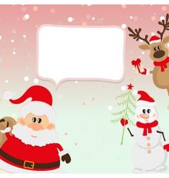 Santa Claus reindeer snowman vector image