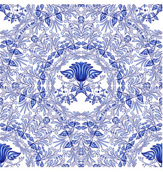 Seamless blue pattern repeating floral pattern of vector
