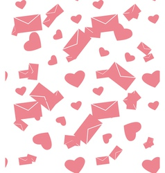 Seamless pattern with envelope and hearts vector
