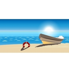 Seascape boat sandy beach icon isolated vector