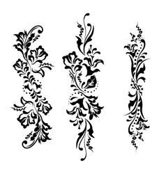 Set swirling decorative floral ornament vector image