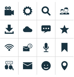 Social icons set collection of smile gear vector