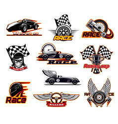 sport car races street racing motor team club vector image