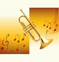 trumpet and music notes in background vector image