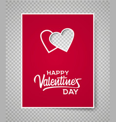 valentine s day card template on transparent vector image