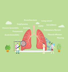 Various lung disease with team doctor examine or vector