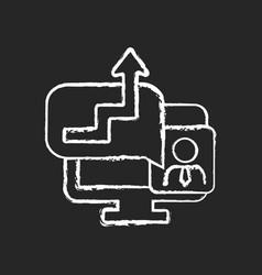 Video coaching chalk white icon on dark background vector