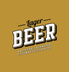 vintage style font with simple beer label design vector image