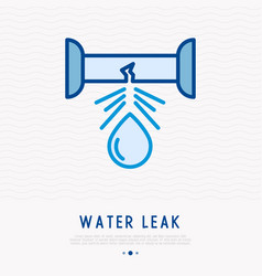 Water leak from pipe thin line icon vector