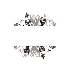 watercolor frame border with black hearts vector image
