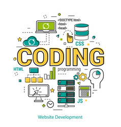 website development - round concept vector image