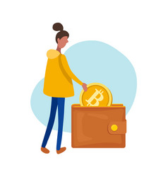 woman putting a bitcoin in her wallet flat vector image