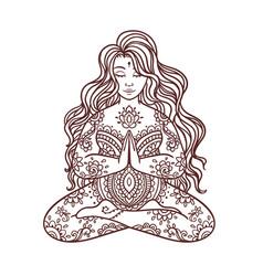 yoga girl ornament meditation pose concept of vector image