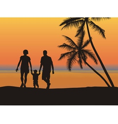 Young family on the beach vector