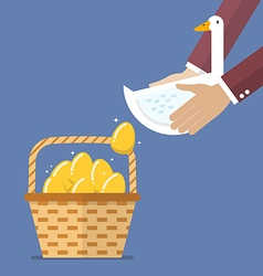 Businessman carrying goose with golden egg into vector image vector image