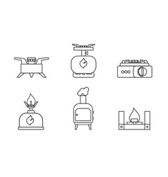 camping stove set lineare icon furnace travel vector image