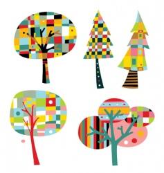geometric trees vector image vector image