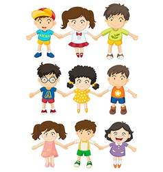 Kids holding their hands vector