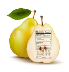 Pear with nutrition facts label concept of healthy vector