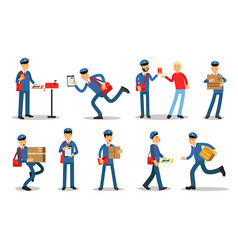 postman characters in different situations set vector image