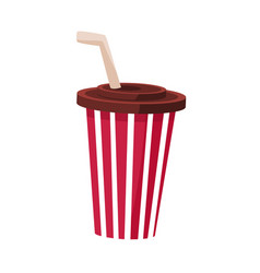 soft drink in stripy paper cup with straw cinema vector image vector image
