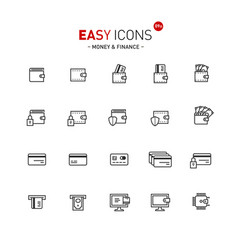 easy icons 09a money vector image