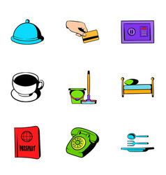 hotel icons set cartoon style vector image