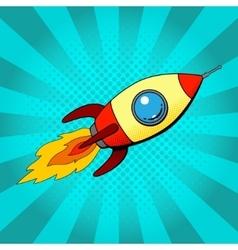 Rocket in retro pop art style vector image vector image